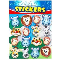 Wild Animal Face Stickers - Pack of 72