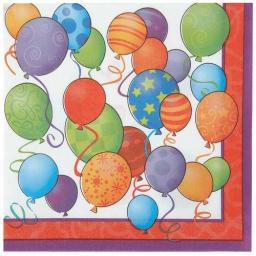 Birthday Balloons Napkins - Pack of 16