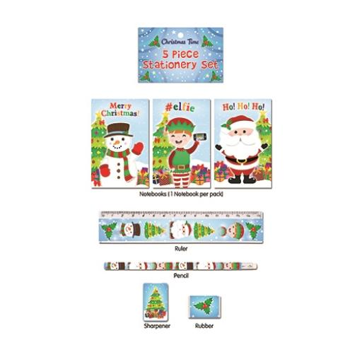 Christmas 5 Piece Stationery Set - Pack of 24
