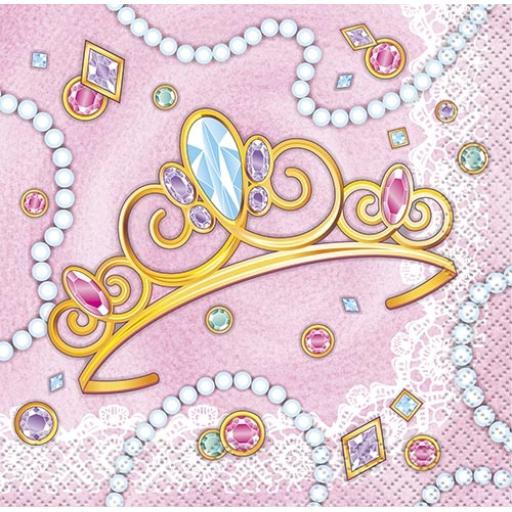 Pink Princess Napkins - Pack of 16
