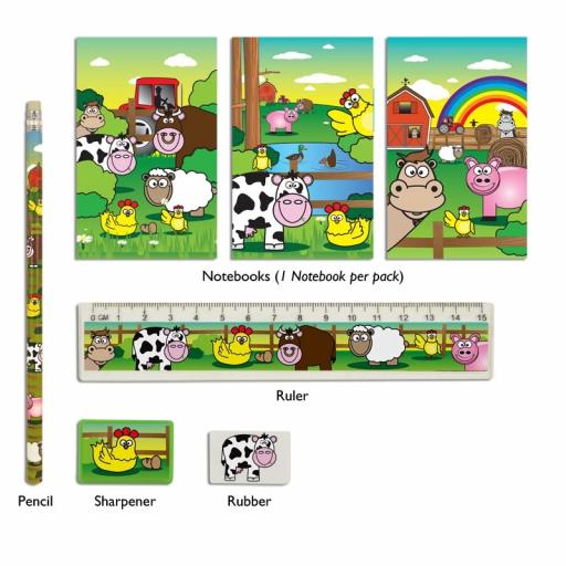 Farm 5 Piece Stationery Set - Pack of 24