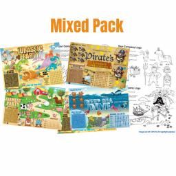 ASSORTED PACK ACTIVITY PLACE MAT WITH CRAYONS