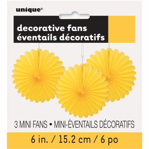 Yellow Decorative Fans - Pack of 3