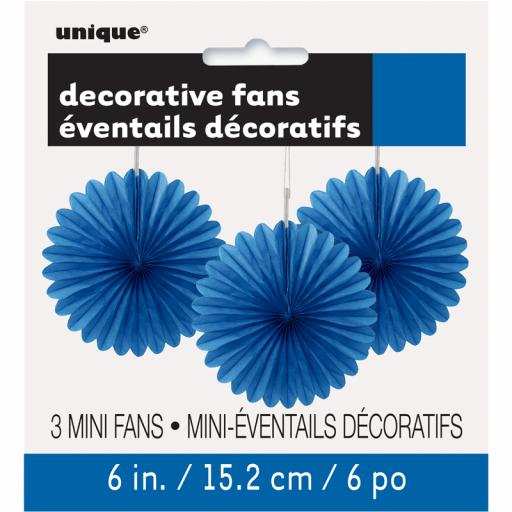 Royal Blue Decorative Fans - Pack of 3