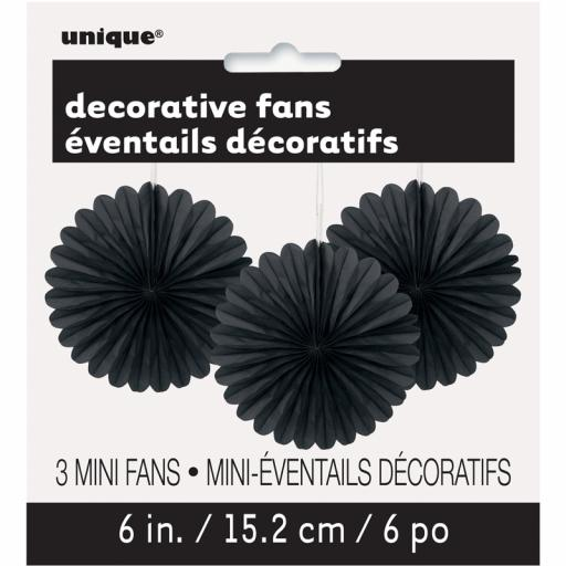 Black Decorative Fans - Pack of 3