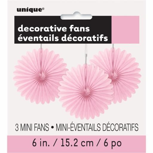 Lovely Pink Decorative Fans - Pack of 3