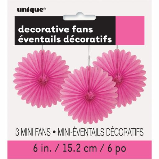 Hot Pink Decorative Fans - Pack of 3