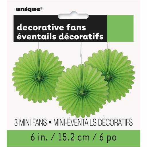 Lime Green Decorative Fans - Pack of 3