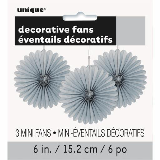 Silver Decorative Fans - Pack of 3