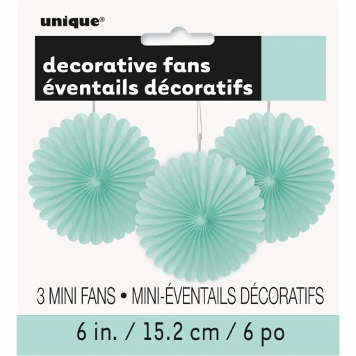 Mint Decorative Fans - Pack of 3