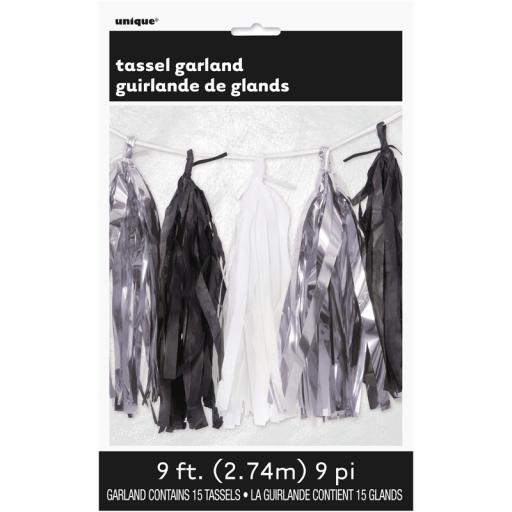 Silver, Black & White Tassel Garland