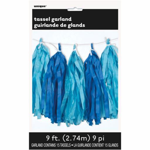 Royal & Light Blue Tassel Garland