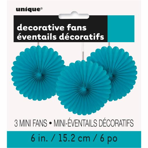 Caribbean Teal Decorative Fans - Pack of 3