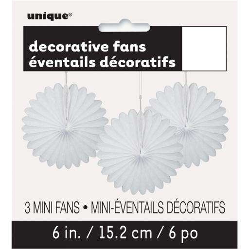 White Decorative Fans - Pack of 3