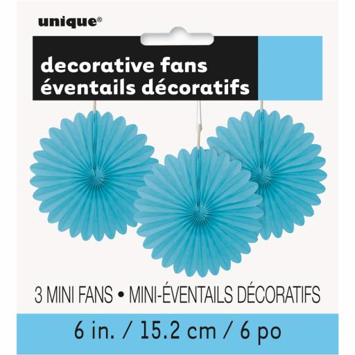 Powder Blue Decorative Fans - Pack of 3