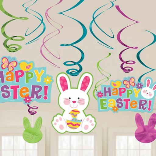 Easter Bunny Hanging Swirl Decorations - Pack of 12