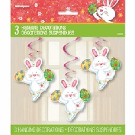 Happy Easter Bunny Swirl Decorations