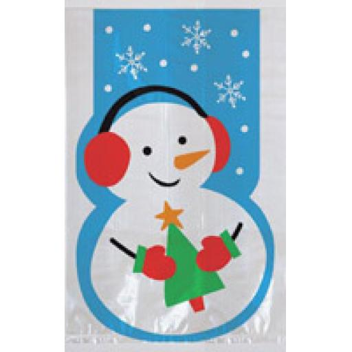 Cello Bags Whimsical Snowman - Pack of 20