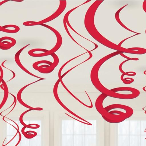 Red Decorative Plastic Swirls