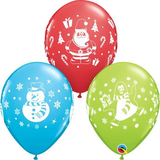 Snowman, Penguin & Santa Latex Balloons