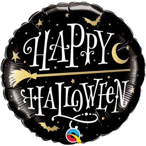 Halloween Golden Broomstick Foil Balloon