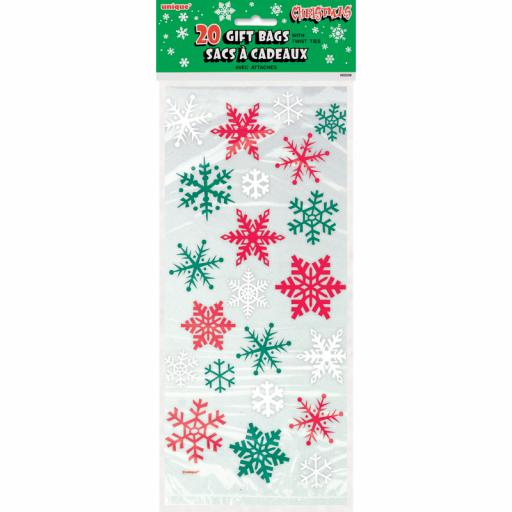 Cello Bag - Red & Green Snowflake - 6 packs of 20
