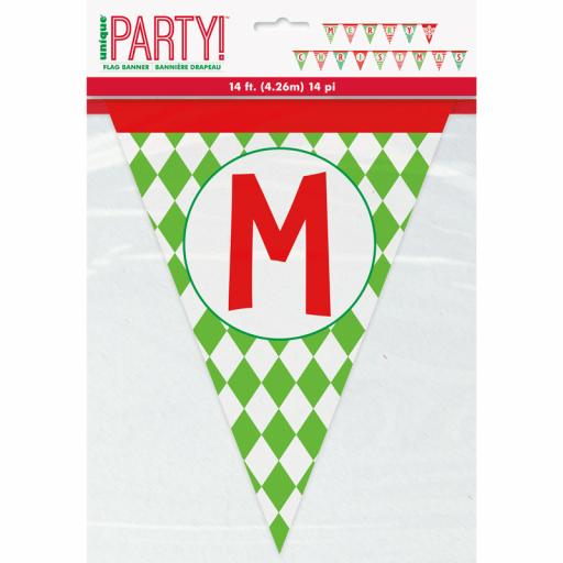 Merry Christmas Paper Flag Banner