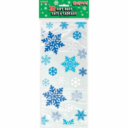 Cello Bag - Snowflakes - Pack of 20