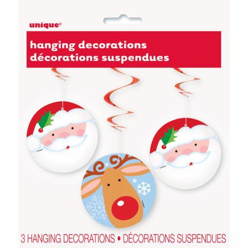 Santa & Reindeer Hanging Swirls