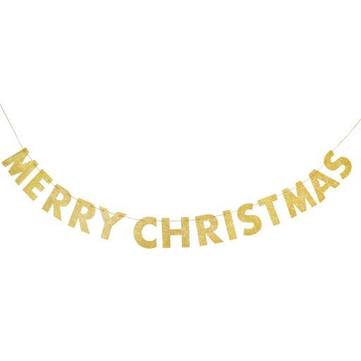 Gold Glitter Merry Christmas Letter Banner