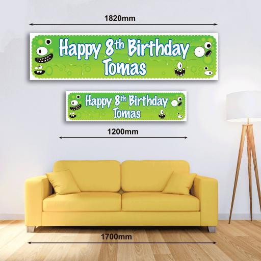 Personalised Banner - Green Monster