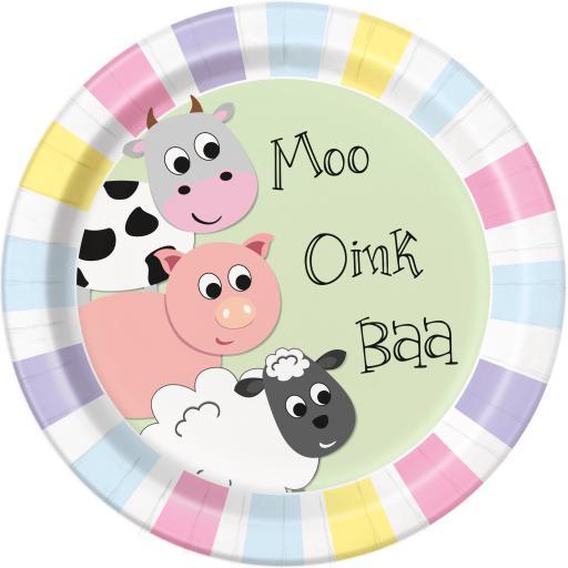 Farm Animal Fun Plates - Pack of 8