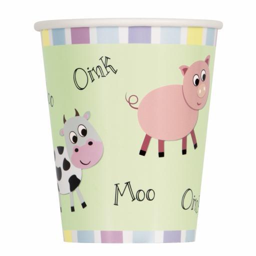 Farm Animal Fun Cups - Pack of 8